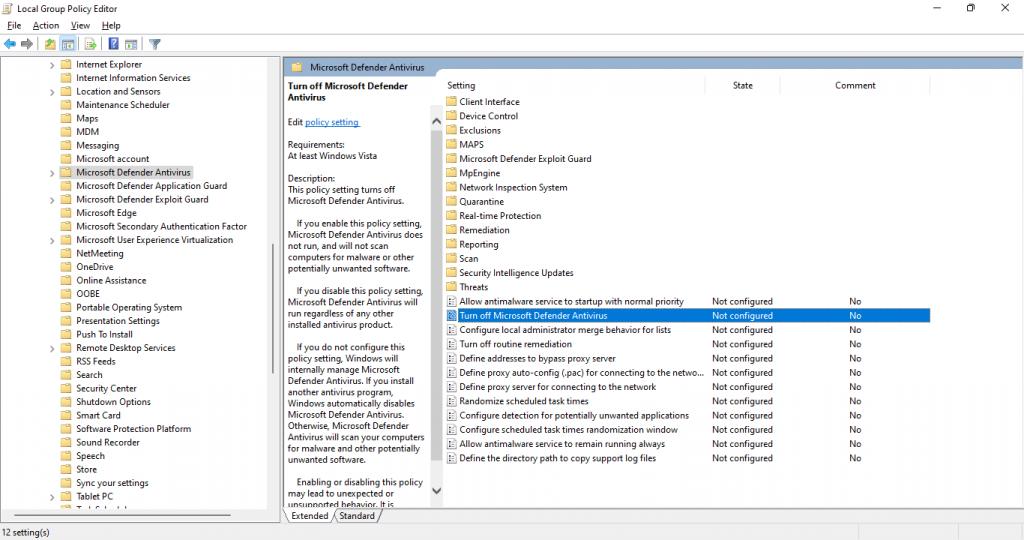 turn off microsoft defender antivirus file