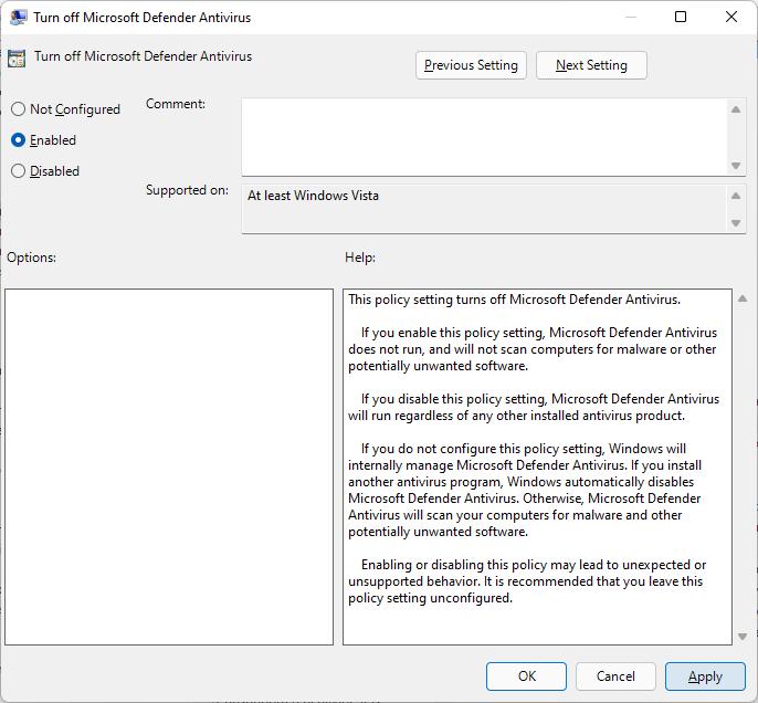 turn off microsoft defender antivirus