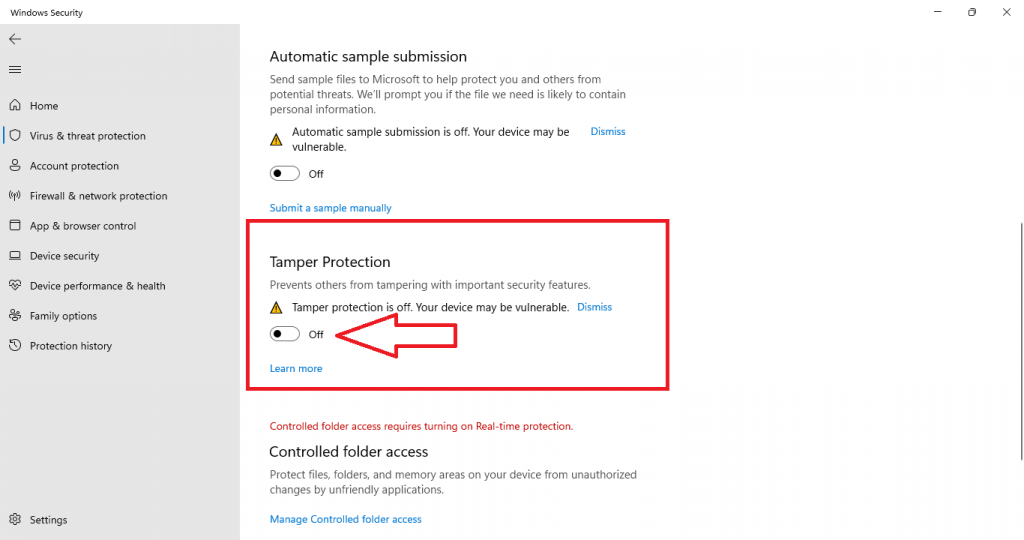 turn off tamper protection windows 11