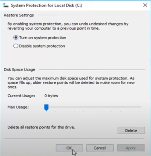 turn on system protection