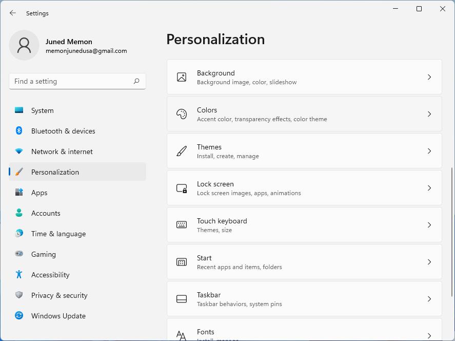 windows 11 personalization