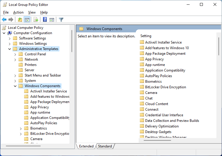 windows components local group policy