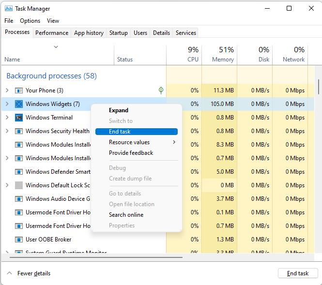 windows widgets end tasks