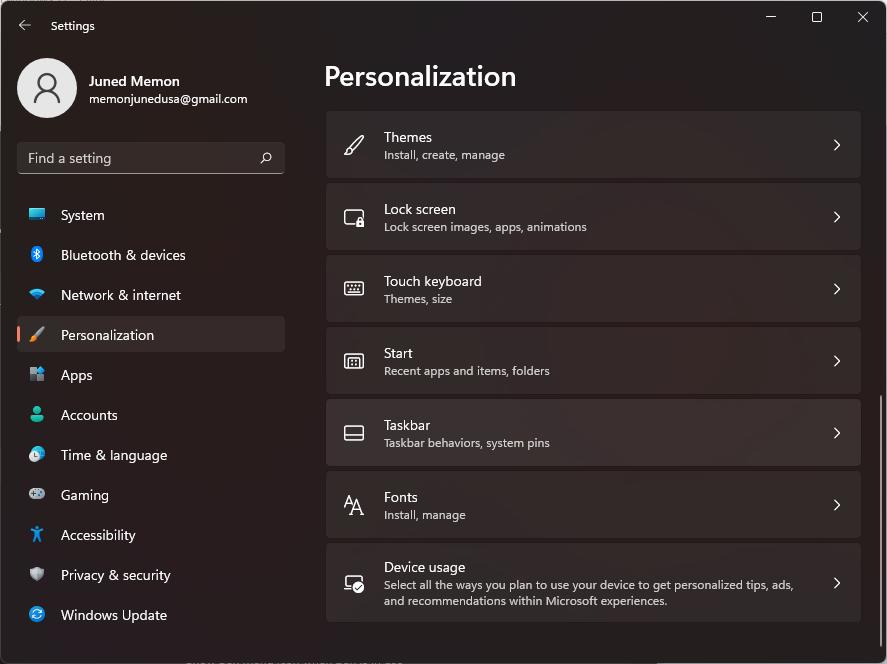 Personalization windows 11