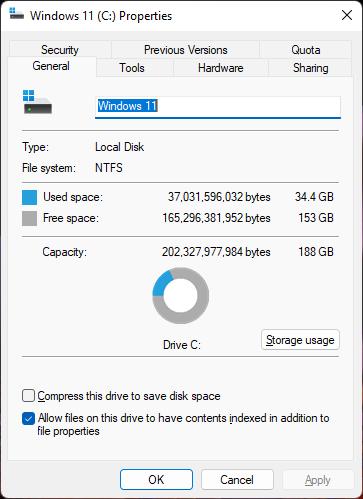 Windows 11 drive properties