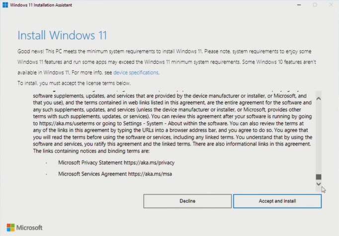 accept and install windows 11