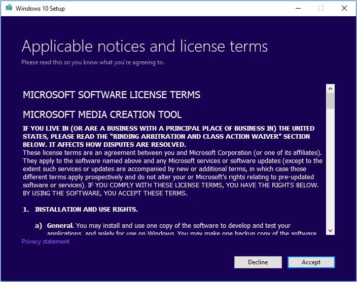 accept windows media creation tool terms