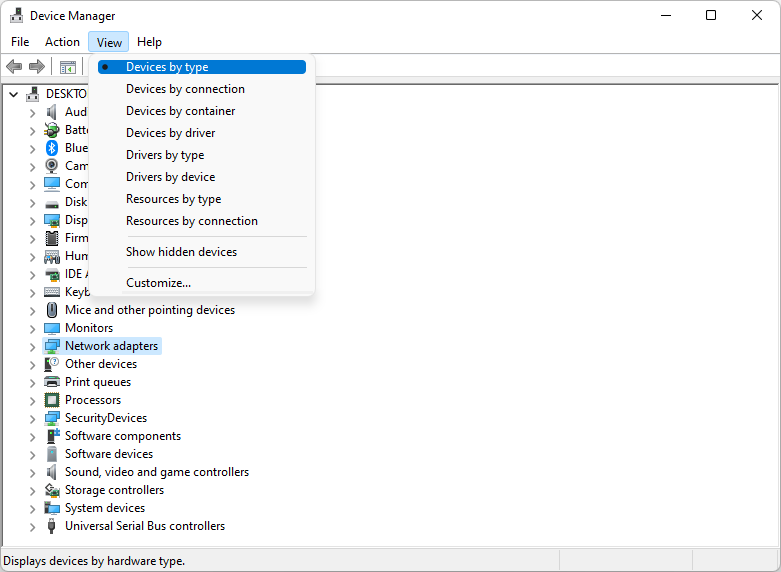 device manager view by