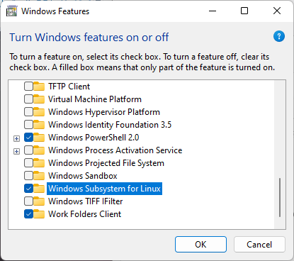 enable windows subsystem for linux windows 11