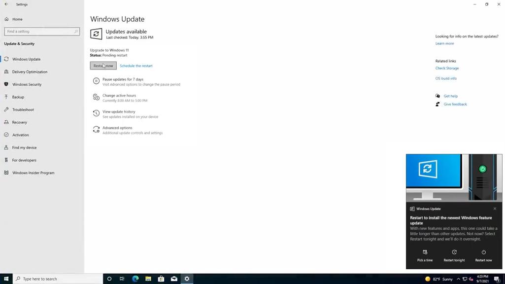 restart now to upgrade windows 11