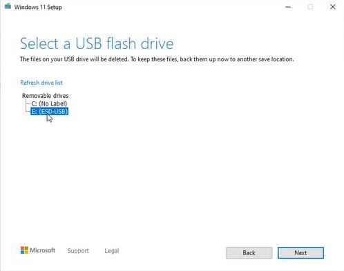 select flash usb drive windows 11