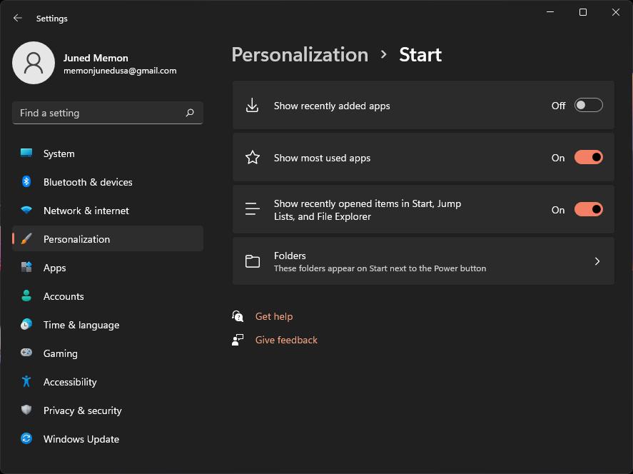 start menu personlization