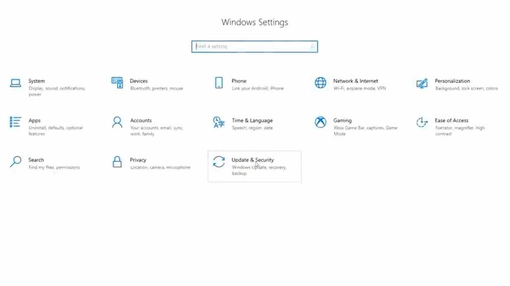 windows 10 update & security option