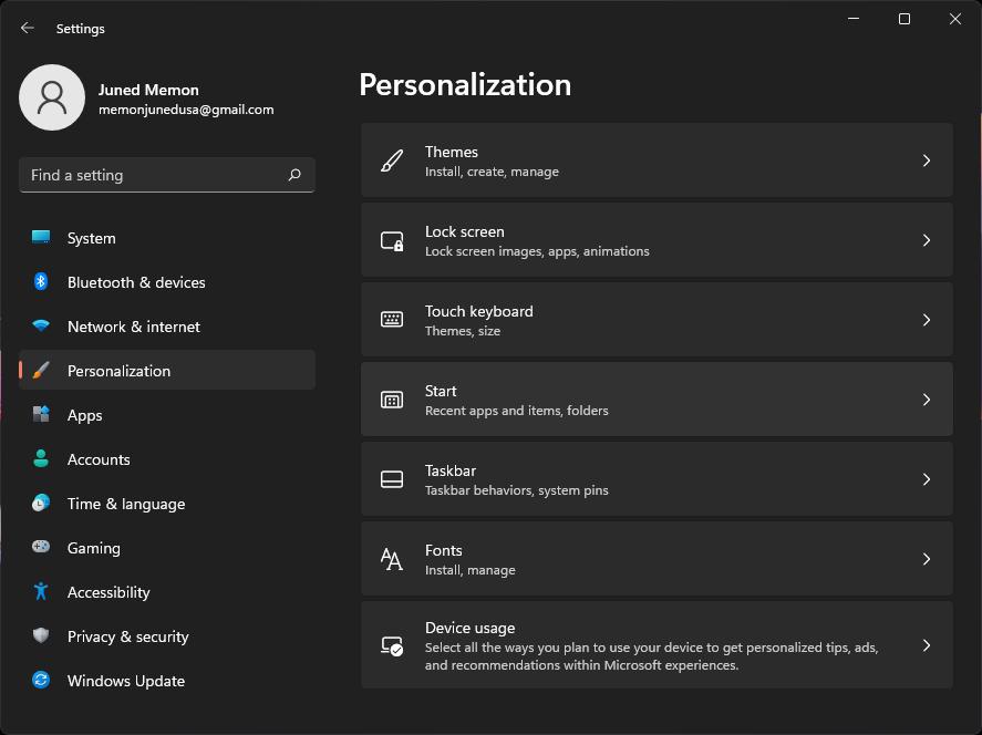 windows 11 personlization start menu