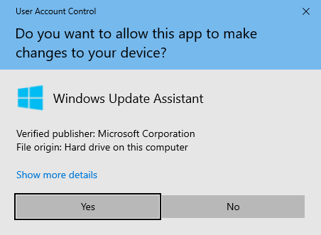 windows 11 update assistant user access control yes