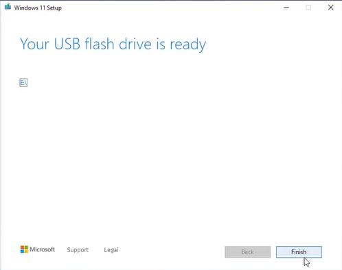 windows 11 usb flash drive is ready