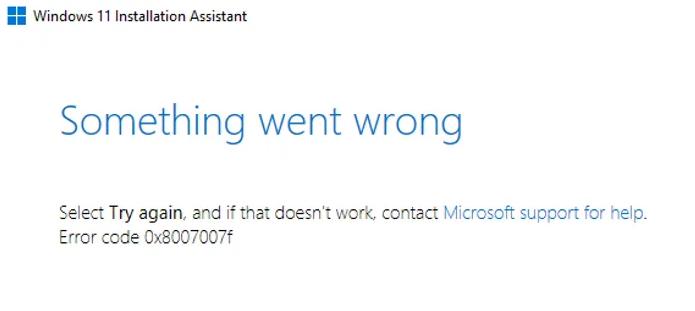 Windows 11 0x8007007f error code