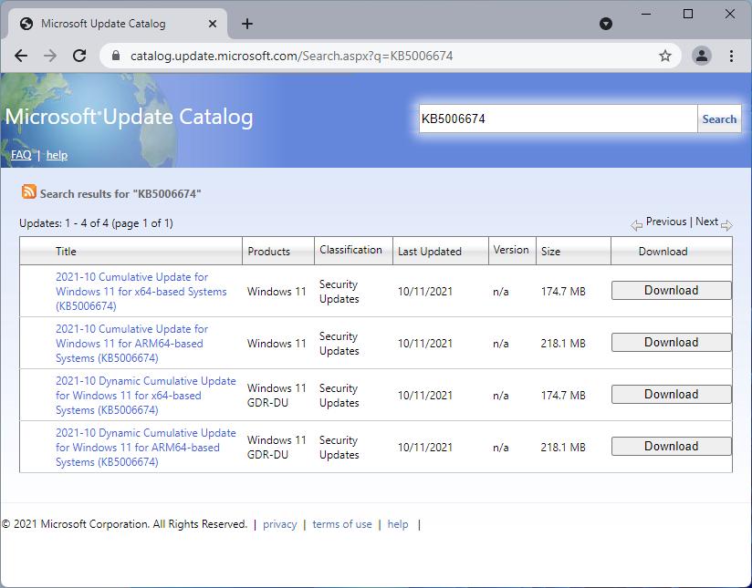 microsoft update catalog KB5006674