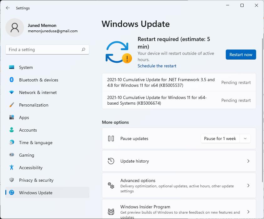 restart now to apply update